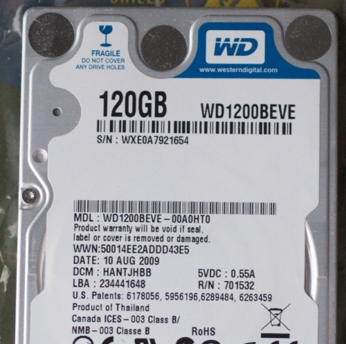 HDD Laptop 120GB 5400RPM Cũ